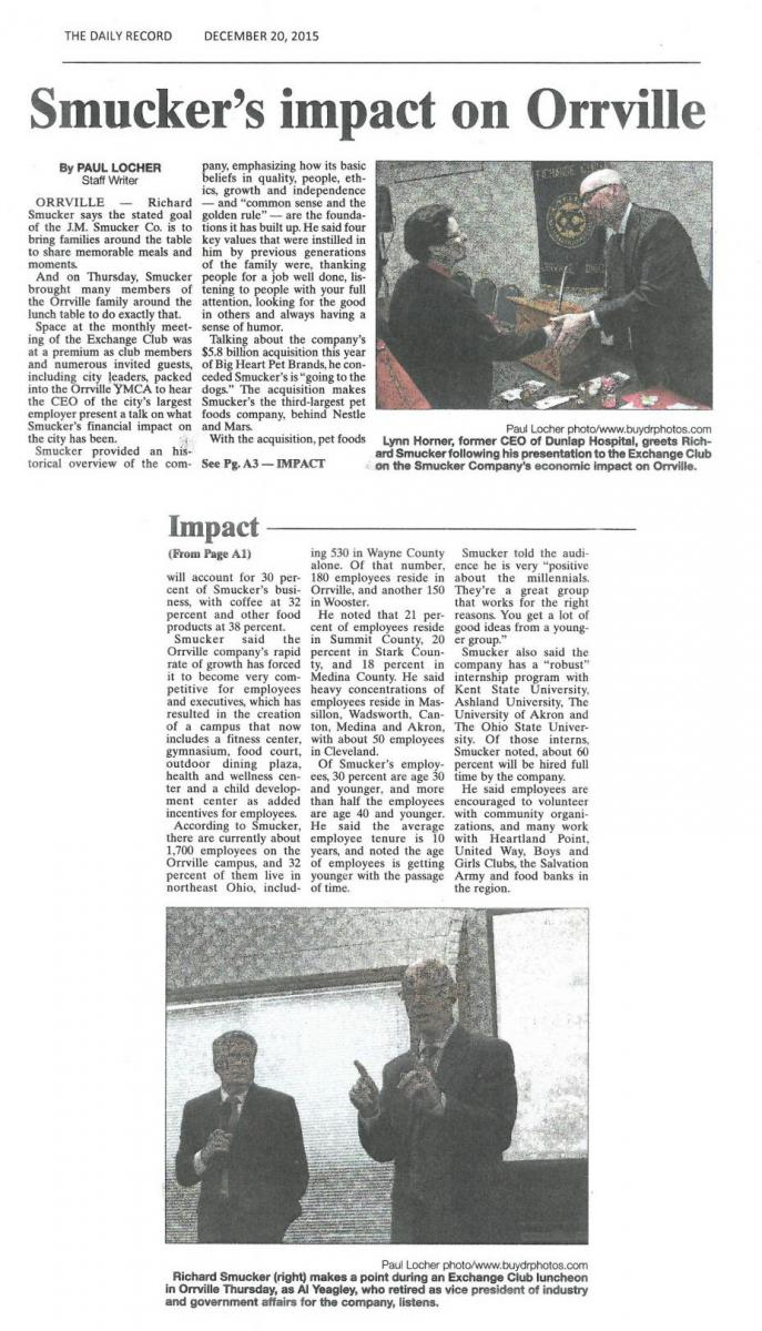 Smucker's impact on Orrville -- newspaper article