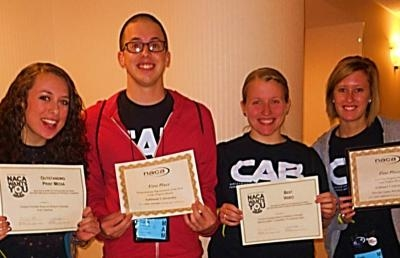AU students -- (l-r) Marissa Uhrig, Caleb Young, Lillian Zalar and Faith Gruber -- hold their awards following the NACA Conference.