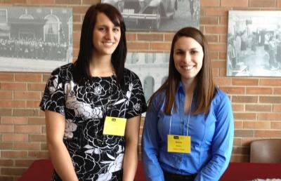 Two Ashland University accounting students -- Jessica Workinger of Orrville, Ohio, (at left) and Grace Bowers of Wadsworth, Ohio – have received scholarships from the Ohio Regional Council of the Institute of Management Accountants (IMA).
