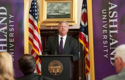 Dr. Fred Finks, president of Ashland University, makes the announcement that Ashland University will cut tuition by more than $10,000 at a news conference at the Ohio Statehouse this morning.