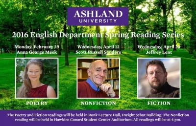 Ashland University English Department Sets Spring Reading Series
