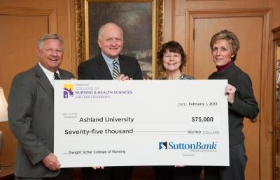 Ashland University College of Nursing Receives $75,000 Gift from Sutton Bank