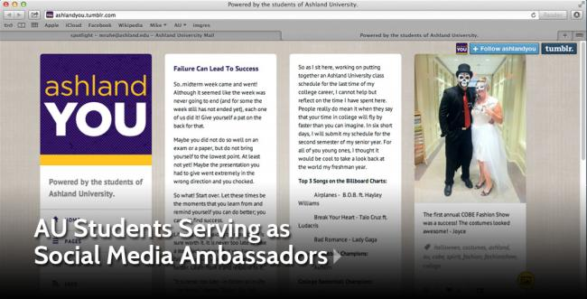Ashland University Students Serve as Social Media Ambassadors