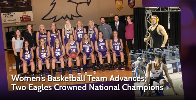 Women's Basketball Team Advances to Finals; Two Eagles Crowned National Champions